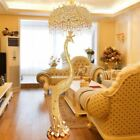 Remote Control LED Floor Lamp Gold Peacock Crystal European Retro Living Light X