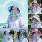Women Breathable Anti-UV Floral Print Sunhat Wide Brim Face Neck Cover Cap AU