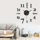 Modern Wall Clock 3D Mirror Sticker Unique Big Number Watch DIY Home Decor Gift