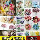 Artificial Silk Flowers Hydrange Wedding Bouquet Real Touch Home Party Decor