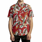 Rvca Men's Montara Short Sleeve Buttondown Shirt Red Clothing Apparel Hawaiia