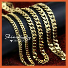 24k Yellow Gold Gf Cuban Curb Chain Mens Womens Solid 16-28inch Italian Necklace