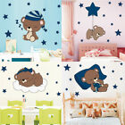 Moon Star Bear Wall Sticker Nursery Baby Room Animal Wall Decal Cartoon Decor