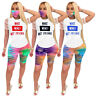 Fashion Burn Out  Suit Letter Printed Short Sleeve Casual T-shirt+Shorts No Mask