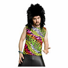 Rad 80's Heavy Metal Glam Rock Multi Color Zebra Spandex Shirt Costume Tank Top