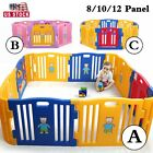 Baby Playpen 8/10/12 Panel Folding Kids Safety Gates Plastic Play Pen Indoor