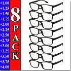 Kyпить Mens Womens Reading Glasses 8 PACK Square Frame Readers Unisex Style Specs NEW  на еВаy.соm