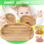 Kids Toddler Suction Plates Stay Put Feeding Plate Natural Bamboo Rabbit Shape