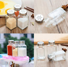 12/24Pcs Glass Spice Jars Bottles Square Clear Airtight Salt Container w/ Lids