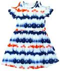 Girls Tie Dye Cold Shoulder Summer Dress Fashion Sundress 2 to 10 Years