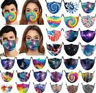 Tie Dye Reusable Washable Facemask Half Face Mouth Funny Face Protect Filter