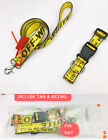 US OFF WHITE Yellow Industrial Pets Dog Cat Collar Lead Belt Strap Collar Leash