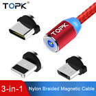 Topk 3 IN 1 Magnetic Cable USB Charging Cable Nylon Led iPhoen Micro USB Type C