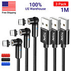 TOPK 3 Pack 180°+360° Magnetic Rotation Charge Cable for iPhone Type C Micro USB