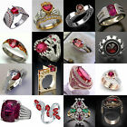 Gorgeous Women 925 Silver Wedding Jewelry Band Rings Oval Cut Ruby Ring Size6-10