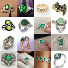 Gorgeous Women 925 Silver Wedding Jewelry  Rings Oval Cut Emerald Ring Size 6-10