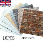 10pcs 3D Tile Brick Wall Sticker Self-adhesive Waterproof Foam Panel Wallpaper #
