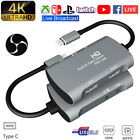 Type-c Dual Hdmi Mic Video Capture Card 4k Usb3.1 Game Video/audio Live Streamer