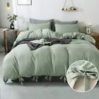 annadaif Green Duvet Cover Queen(90x90 Inch),3 Pieces Soft Washed Cotton Bowknot