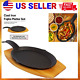Mr. Bar-B-Q (2 Piece) Fajita Skillet Set With Wood Base Kitchen Accessories Cast