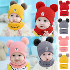 Toddler Kids Girl Boy Baby Winter Warm Hat Scarf Beanie Knit SKull Cover Cap Us