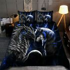 Blue Dragon And Wolf Bedding Set