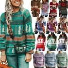 Women Vintage Festival Knitted Sweater Pullover Reindeer Casual Top Jumper Warm