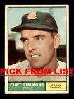 1961 Topps #3-205 VG-EX Pick From List All PICTURED