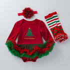 Newborn Baby Girl My First Christmas Fluffy Romper Dress Costume Xmas Outfits