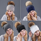 Women Winter Wool Knit Beanie Cap Large Fox Fur Pompom Hat Rhinestone Studded