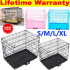 Foldable Dog Cage Puppy Pet Crate Carrier - Small Medium Large S M L XL Metal