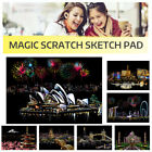 Adult Kids Magic Scratch Sketch Pad Wooden Drawing Shiny Stick Art Painting