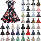 Women 1950s 60s Retro Vintage Floral Rockabilly Hepburn Evening Party Dress