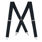 "Buyless Fashion Suspenders Men - 48"" Elastic Adjustable Straps 1 1/4"" - X Back"