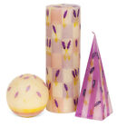 KAPULA - LARGE HAND PAINTED CANDLES - LAVENDER - FAIRTRADE - SOUTH AFRICA
