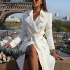 HOT Womens Vintage Double Breasted White Trench Coat Sash Slim Long Work Office