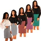 Ladies Office Dress with Pencil Skirt Full Sleeve Buttoned Cuffs Round Neck Top