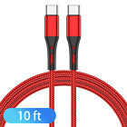 3/6/10FT USB-C to USB-C Type C Fast Charging Cable PD For Samsung Macbook iPad