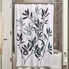 iDesign Leaves Fabric Shower Curtain, Modern Mildew-Resistant Bath Curtain for