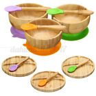 Baby Bamboo Silicone Feeding Plates  Spoon Set/Bowl Plate  Spoons Tableware I