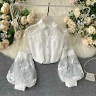 Women Embroidery Blouse Shirt Top Floral Puff Sleeve Retro Mesh Button Fairy