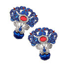 2 Pcs Antiquity Cloisonne Findings Hair Accessories Making Crafts 36 x 40 mm