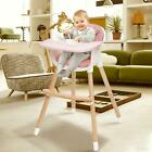 Adjustable Wood High Baby Dinning Chair Toddlers Convertible Feeding Highchair