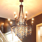 American style led crystal pendant light retro iron shell large chandelier Lamp
