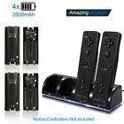 For Nintendo Wii/Wii U Charger Dock Station + 4x Rechargeable Controller Battery