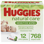 Huggies Natural Care Sensitive Baby Wipes, Unscented, 3 Refill Packs (624 Wipes