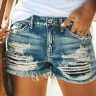Lady Ripped Distressed Shorts Jeans Hot Pants Lady High Waist Trousers Denim
