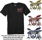 Embroidered DRUM SET -  DRUMS 12 Colors Tee Shirt