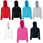 FRUIT OF THE LOOM LADY FIT ZIPPED HOODED TOP ALL SIZES