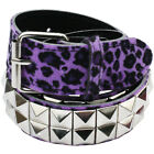 Purple Leopard Pyramid Studded Belt - Punk Rock Gothic
